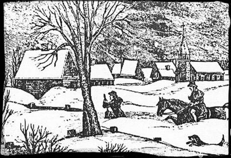 A woodcut depicting the Great Snow of 1717