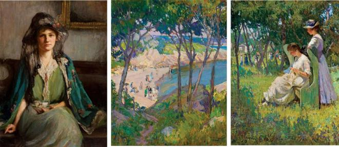 "Examples of Mary Braddish Titcomb's work. ""Two Girls on Right sold for $120,000 in 2011."
