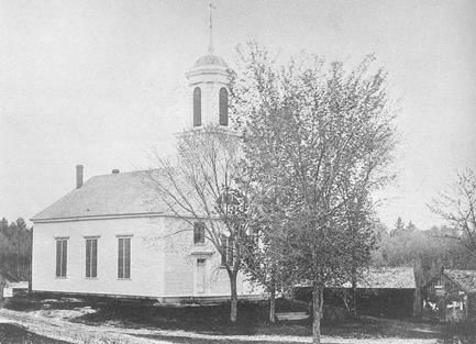 Windham Presbyterian Church showing horse sheds.