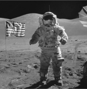 Neil Armstrong on the Moon.