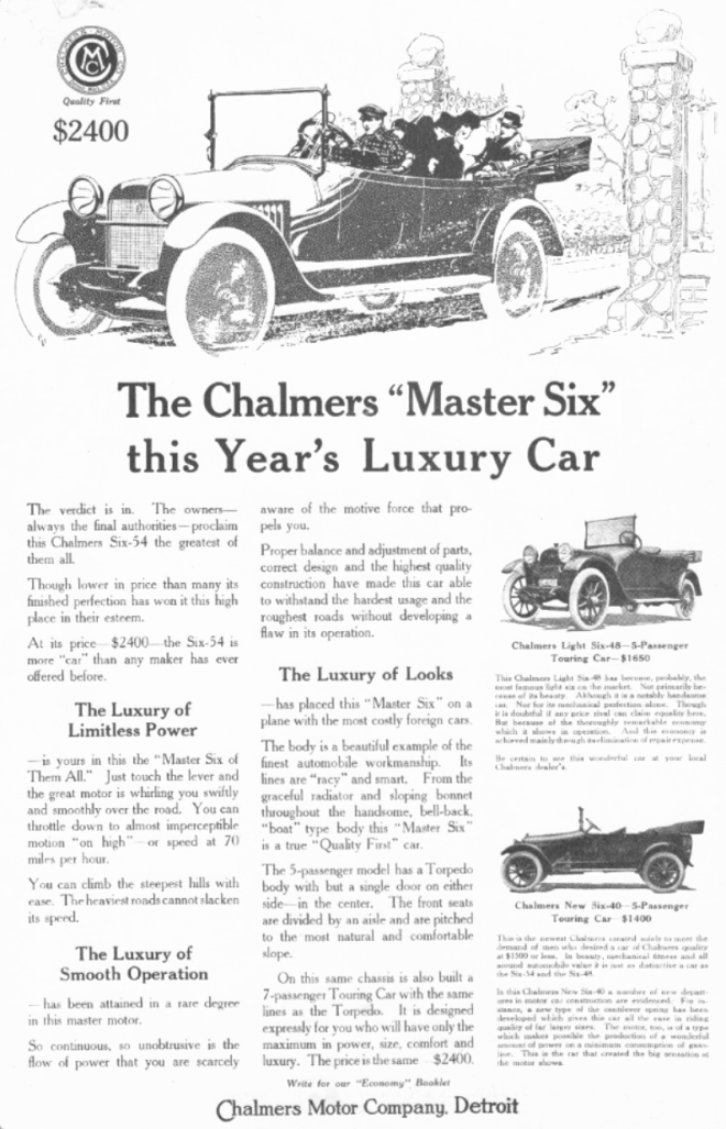 Advertisement for a 1915 Chalmers