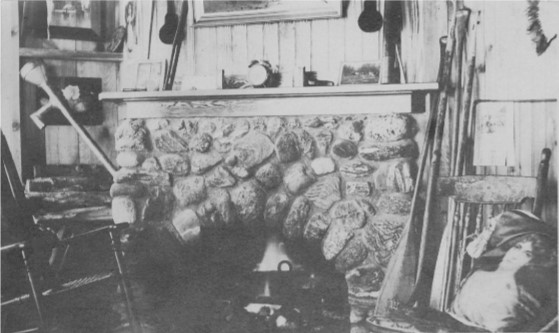 A fireplace in a cottage on the North Shore of Cobbett's Pond