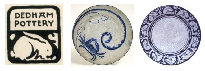 The ubiquitous Dedham pottery rabbit plate and other Dedham pottery items.