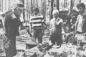 Ed Devlin and Edith Low with Raku pottery pieces.