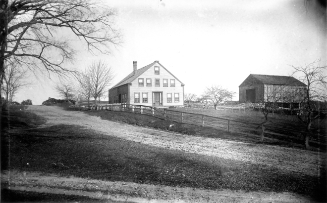 The farm shown was built by Gilbert Alexander in 1830, on land that was originally part of a larger tract of land, granted earlier to the Nesmith family. His brother Samuel  owned an adjoining farm which was also on the original Nesmith grant. Samuel built his buildings in 1854. Nellie Mae, who died in the summer of 1916 was Samuel's only child. They all descended from Randal Alexander, one of the first 16 settlers of Londonderry.