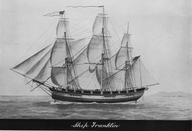 The brig Franklin on which Frederick Bessel was captain's clerk when it visited Saigon, Vietnam.