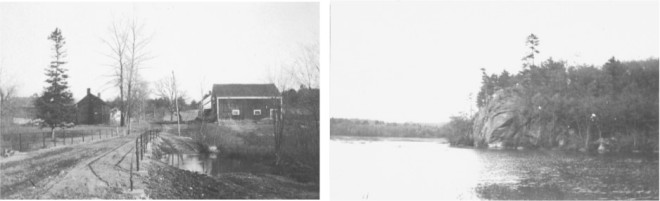 "Top Left: ""Goldings"" or Golden Brook as it passes under Cobbett's Pond Road (1910). Top Right: ""Deer Ledge."""